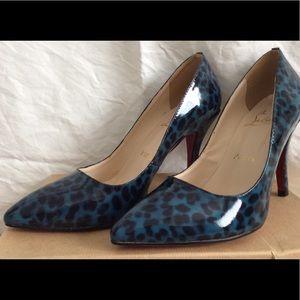 Christian Louboutin blue leopard heels